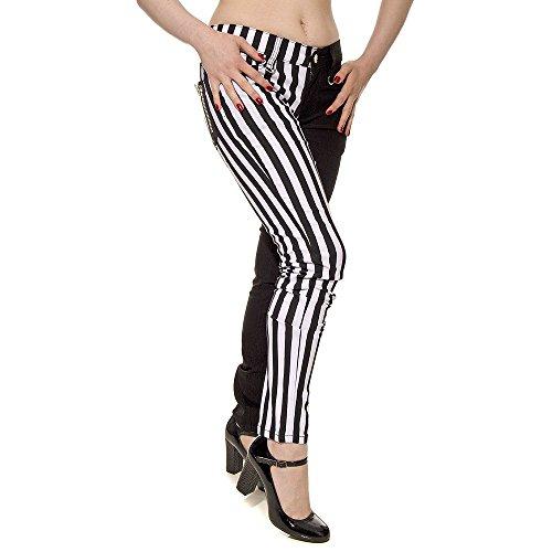 Banned Gestreifte Jeans (Schwarz/Weiß) - 28 (Jeans Gestreifte Schwarz Skinny)