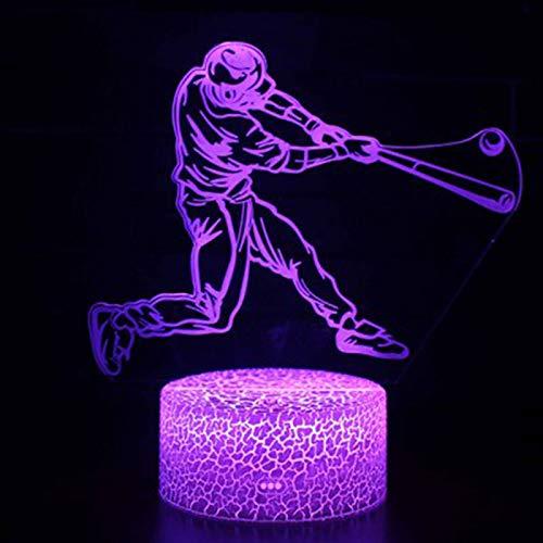 Baseball Thema 3D Lampe LED Nachtlicht 7 Farbwechsel Touch Stimmung Lampe Weihnachtsgeschenk