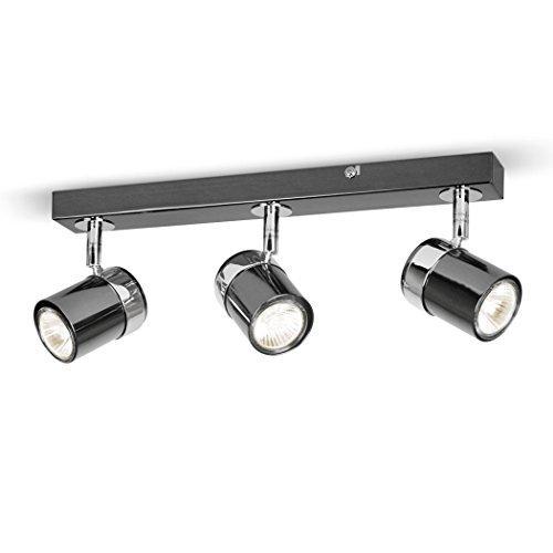 Plafoniera moderna su binario con 3 luci spot orientabili e finitura cromata nera e - sistema di illuminazione su binario
