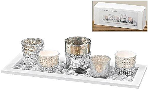 Windlicht Teelicht auf Tablett Weiß mit Strass 7 tlg Landhaus - ohne Kerze