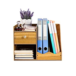 ZHAO ZHANQIANG Wooden Creative Stationery Wooden File Rack Book Stand Bookshelf/Storage, (Color : QT46)   10