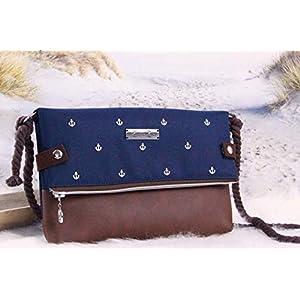 Foldover Tasche -Anker Weiß/Nachtblau/Braun Anker Tasche Umhängetasche Damen Klein Ankertasche, Anker Tasche Maritim…