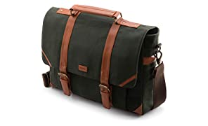 """VOLOQ Marshal fits Upto 17"""" Laptop Briefcase Messenger Bag for Working Men Canvas & Vegan Leather (Military Green)"""