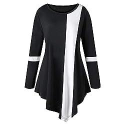 VEMOW Herbst Elegante Damen Blusen Mode Frauen Casual Plus Größe Langarm Zwei Ton Farbe O-Ausschnitt Lässige tägliche Freizeit lose asymmetrische Oberteile(Schwarz, 48 DE / 4XL CN