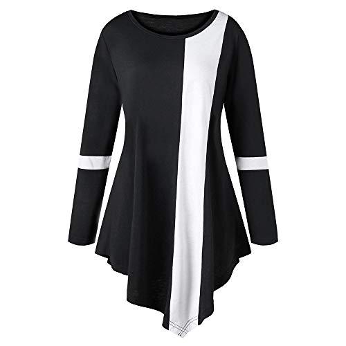 VEMOW Herbst Elegante Damen Blusen Mode Frauen Casual Plus Größe Langarm Zwei Ton Farbe O-Ausschnitt Lässige tägliche Freizeit lose asymmetrische Oberteile(Schwarz, EU-48/CN-4XL