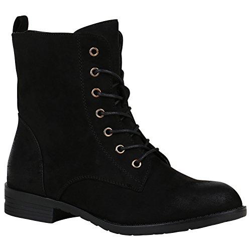 Stiefelparadies Damen Schnürstiefeletten Profilsohle Leder-Optik Stiefeletten Schuhe 148737 Schwarz Matt 42 Flandell