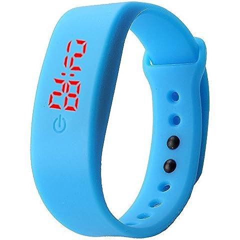 Sannysis® Goma Reloj LED Fecha Deportes pulsera; Digital reloj de pulsera (Azul)