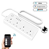 Houkiper Smart Power Strip, WiFi Smart Surge Protector Extension Lead with 4 AC Outlets 4 USB Port Remote Control Voice Control Compatible with Alexa Echo Google Assistant and IFTTT, No Hub Required.