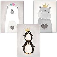 Frechdax® 3er-Set Kinderzimmer Babyzimmer Poster DIN A4 ohne Bilderrahmen | Mädchen Junge | Kinderposter Kunstdruck im skandinavischen Stil | schwarz/weiss oder bunt | Set-12