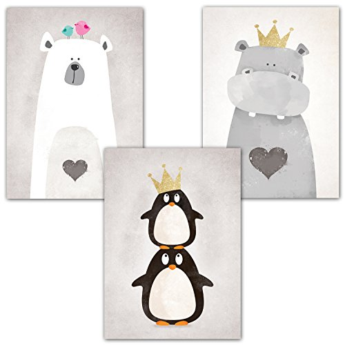 Frechdax 3er-Set Kinderzimmer Babyzimmer Poster DIN A4 ohne Bilderrahmen | Mädchen Junge | Kinderposter Kunstdruck im skandinavischen Stil | schwarz/weiss oder bunt | Set-12