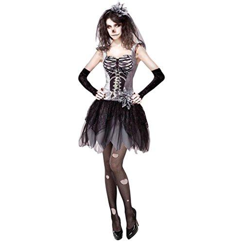 senenkostüm Skelett Braut, XL (Tote Braut Halloween-kostüm Schwarz)