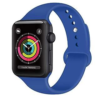 AK kompatibel mit für Apple Watch Armband 42mm 38mm 44mm 40mm, Weiche Silikon Sport Ersatz Armbänder kompatibel mit für iWatch Series 4, Series 3, Series 2, Series 1 (10 Königsblau, 42/44mm M/L)