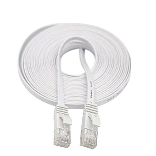 rnet-Kabel Netzwerk-LAN-Kabel Flachkabel 5M, Ethernet-Kabel, 10 Gbit/s, 600 MHz STP Molded Switch für Router, Modems, Patch Panels, PC, PS3, PS4 usw. (Weiß) ()