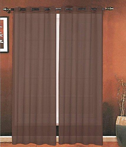 Passen Perfekt Zu Sheer (ELEGANCE Bettwäsche Luxus 2-teilig Tülle Sheer Panel/Vorhang-Gardinen 140cm Breite x 84Zoll) Länge-viele Farben erhältlich, Polyester-Mischgewebe, schokobraun, 55 Inches x 84 Inches)