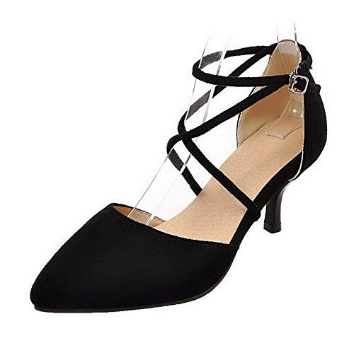 AgeeMi Shoes Damen Schließen Zehe Rein Mittler Absatz Schnalle Pumps Schuhe,EuD70 Schwarz 39