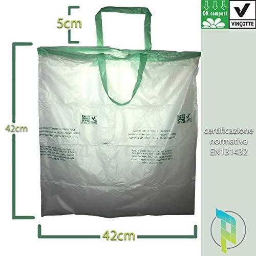 Palucart® 10 rotoli da 15 sacchetti biodegradabili 10 litri per raccolta umido con manico prendifacile 150 sacchi organico compostabili e biodegradabili f.to 42 x 42 sacchetti umido biodegradabili