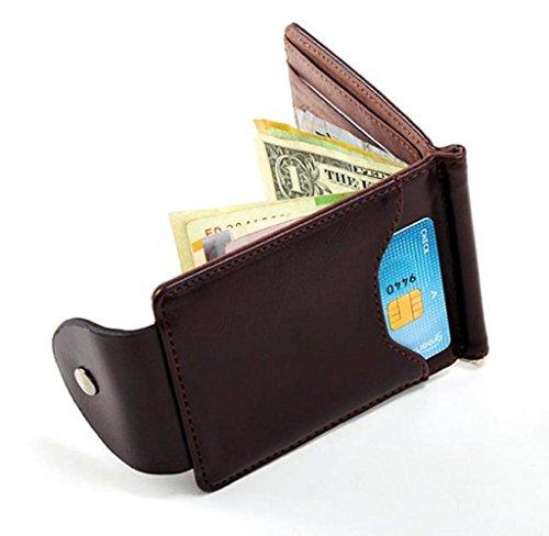 Geldbörsen, Rcool Ultra-dünne Leder-Geld-Clip dünne Mappen ID Kreditkarte Inhaber Geldbörse (Braun) (Fossil Geld-clips)
