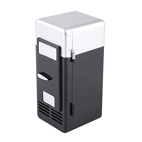 hlschrank, elektrisch, Getränkedosen mit LED-Licht für Büro, Schreibtisch, PC, Auto Schwarz ()
