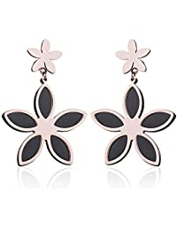 d884560bd6c3 Earrings Home Pendientes de Flor de Titanio nuevos y creativos para Mujer  Moda Simple Oro Rosa Negro Estrella de Cinco Puntas Pendientes…
