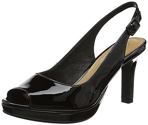 Clarks Women's Mayra Blossom Wedge Heels Sandals, Black (Black Pat Lea), 41 UK