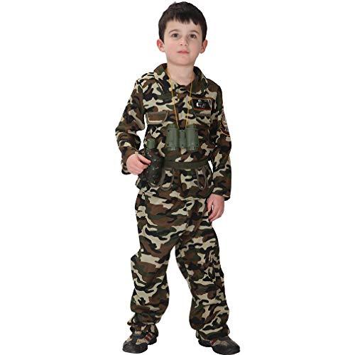 ldat Kostüm Halloween Cosplay Kinderkostüm Army Soldier Kostüm Set (Körpergröße 130-140cm, Armeegrün) ()