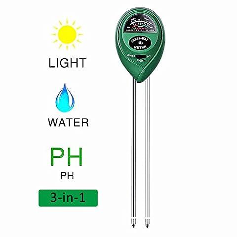 Soil Moisture Tester Meter, 3-in-1 Boden PH Messgerät Meter Licht Tester Meter für Garten, Bauernhof, Rasen, Indoor oder Outdoor, schnell lesen und keine Batterie benötigt