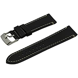 Hypoallergenic Ecologically Tanned Calfskin Leather Watch Band with Titanium Buckle