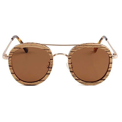 WULE-Sunglasses Unisex Die Holz-Sonnenbrille der neuen Frauen mit rundem Rahmen, UV400 Pretection Polarized Light TAC Lens Mental Leg Retro Style Brown (Farbe : Brown)