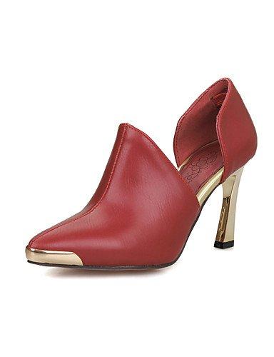 WSS 2016 Chaussures Femme-Habillé-Noir / Rouge / Blanc-Talon Aiguille-Talons / Bout Arrondi-Talons-Similicuir white-us5 / eu35 / uk3 / cn34