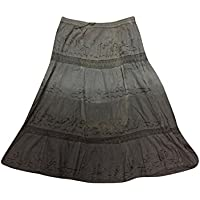 Boho Chic Womens Maxi Skirt Lace Panel Embroidered Medieval Long Skirts