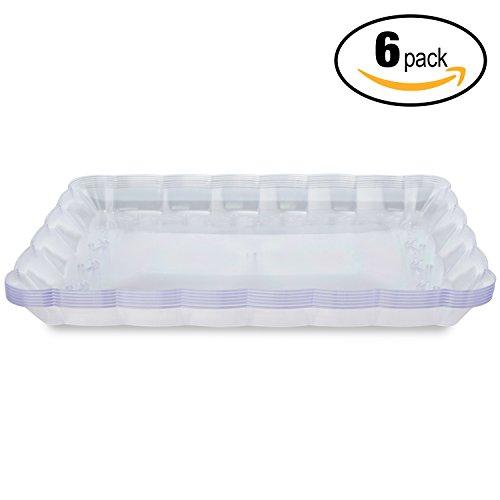 Ensemble de 6 plateaux de service rectangulaires jetables en plastique - 32.4 (L) x 23.8 (W) cm