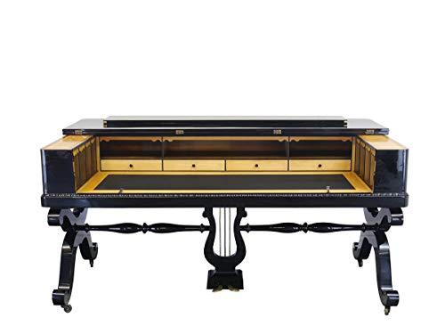 Antike Fundgrube Empire Schreibtisch Büromöbel Spinett antik 1840 schwarz Hochglanz 185 cm (9074)