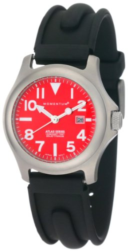 Momentum Ladies 1M-Sp01R1 Atlas Red Dial Black Slk Rubber Watch
