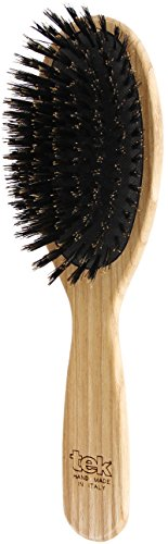 Tek spazzola per capelli ovale grande in legno di frassino con setole ecologiche - Handmade in Italy