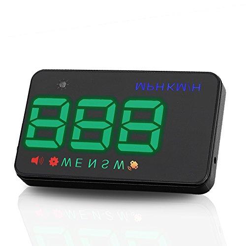 LEANINGTECH A5 allgemein GPS, HUD Head-Up Display, KMH MPH Tachometer mit 2 Modi (HUD/Standard) Alarmfunktionen vor Übergeschwindigkeit, Zigarettenanzünder, Kompaß, Projektor für Windschutzscheiben