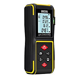 URCERI 60m Laser Distance Meter with Bubble Level and Batteries IP54 Waterproof Device Area Volume Pythagoras Continuous Measurement Digital Measure Tool Electronic Measuring Tape