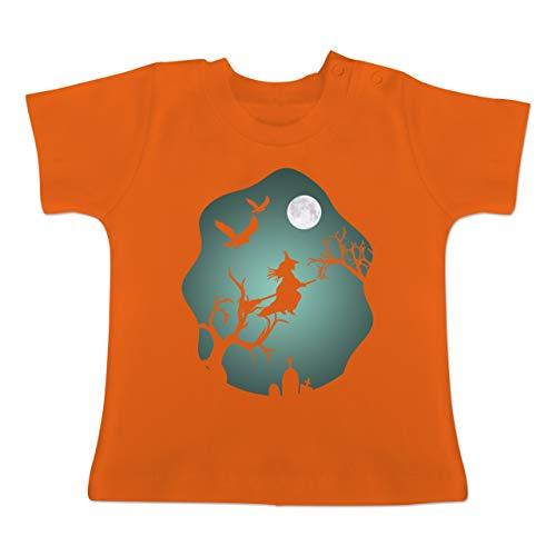 Anlässe Baby - Hexe Mond Grusel Grün - 3-6 Monate - Orange - BZ02 - Baby T-Shirt - Krähe Kostüm Baby