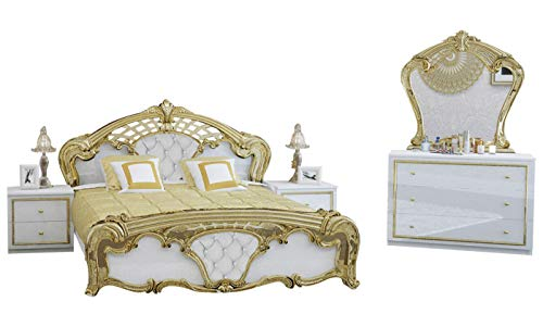 Mirjan24  Komplett-Schlafzimmer Eva IV, Doppellbett – 2 Größen, Kommode, Spiegel, Nachtschrank-Set, Ehebett