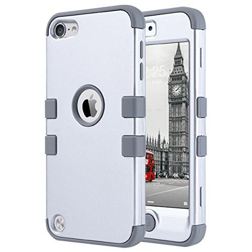 ULAK iPod Touch 5 Hülle, iPod Touch 6 Hülle 3in1 Stoßfest Hybrid High Impact Hart PC und Weiche Silikon Schutzhülle Tasche Case Cover für Apple iPod Touch 5 6 Generation (Silber) (High Impact Hybrid-ipod 5 Fällen)