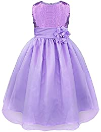 iEFiEL Girls Sleeveless Sequins Formal Party Dress Prom Pageant Wedding Bridesmaid Flower Girl Dress