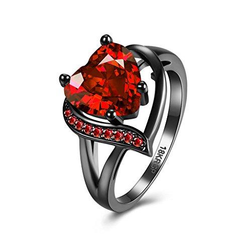 BeyDoDo Modeschmuck Edelstahlring für Sie Geburtsstein Herz Rot Zirkonia Hochzeitsring Schwarz Ring Ringgröße 57 (18.1)
