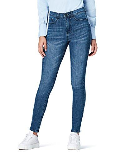 FIND Skinny-Jeans Damen mit hohem Bund, Stone-Washed und 5-Pocket-Design, Blau (Mid Wash), W36/L32 (Herstellergröße: XX-Large) (Jeans Stonewashed Dunkle)