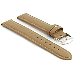 StrapsCo Extra Long Matte Beige Genuine Leather Watch Strap size 12mm