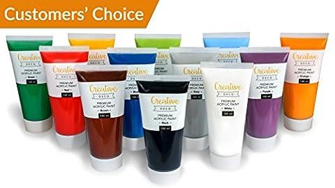 Ensemble de Peinture Acrylique XXL - 12 GROS tubes 100 ml - Fabriqué en UE - Idéal pour les Débutants, les Étudiants, les Artistes et les Professionnels - Idéal pour Bois, Toile, Tissu et Papier - (tube de 12 x 100 ml)