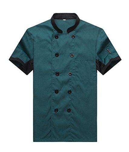 401629f1bcf WAIWAIZUI Camisa de Cocinero Cocina Uniforme Manga Corta Verde