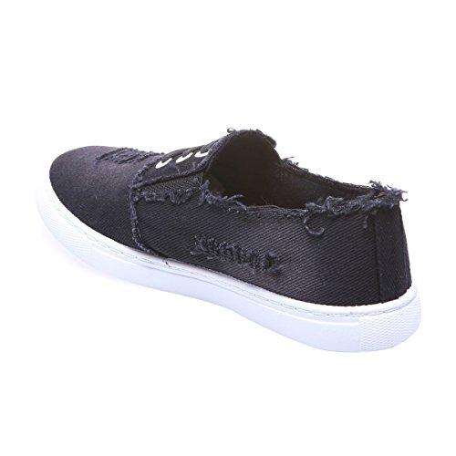 La Modeuse - Baskets de type slip-on en jean avec boutlégèrement allongé Noir