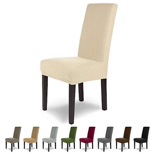 SCHEFFLER-Home Luna 2 Fundas de sillas, Estirable Cubiertas, Chenilla extraíble flexibel Funda con Banda elástica, Crema