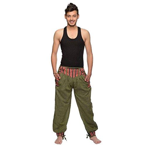 Simandra Haremshose Freizeithose Fischerhose Fitness Hippie Goa Schlupfhose PSY Ethno Sport Thamel Herren (Grün, S/M)
