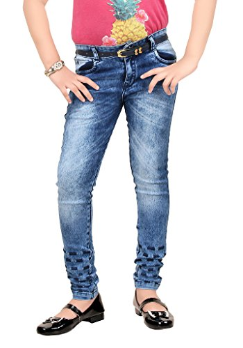 Clench Girl's Full Length Pattern Denim Jeans With Belt  available at amazon for Rs.1099
