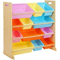 SONGMICS Kinderzimmerregal, Spielzeug-Organizer mit 12 Herausnehmbaren Aufbewahrungsboxen, aus Kunststoff, Spielzeug- und Bücherregal fürs Kinderzimmer, Rahmen mit Füßen, in Ahornfarbe, GKR04YL preisvergleich bei kinderzimmerdekopreise.eu